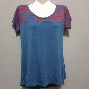 Lularoe blue top yoke  with red stripes